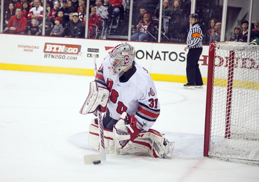 Freshman goalie Matt Tomkins protects his goal during a game against Michigan State Jan. 11 at the Schottenstein Center. The teams tied, 1-1. Credit: Kelly Roderick / For The Lantern