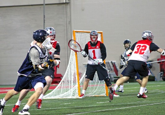 Junior goalkeeper Cameron Stephens (1) protects the net during a game against Navy Jan. 25 at the Woody Hayes Athletic Center. OSU lost, 15-11. Credit: Ryan Robey / For The Lantern