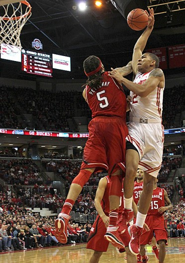 Freshman forward Marc Loving (2) attempts to dunk the ball during a game against Nebraska Jan. 4 at the Schottenstein Center. OSU won, 84-53. Credit: Kaily Cunningham / Multimedia editor