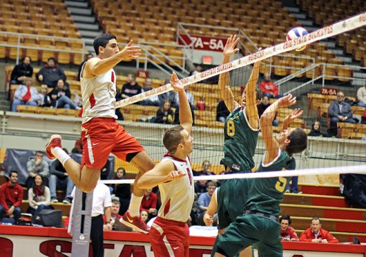 Redshirt-freshman Driss Guessous (4) watches a spike during a match against Lees-McRae Jan. 17 at St. John Arena. OSU won, 3-0. Credit Shelby Lum / Photo editor