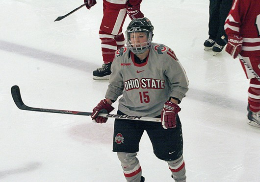 Then-sophomore forward Minttu Tuominen skates off the ice during a game against Wisconsin Jan. 8, 2011, at the OSU Ice Rink. OSU lost, 5-3. Credit: Lantern file photo