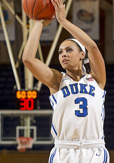 Then-Duke freshman guard Kianna Holland takes a shot during the Blue/White Scrimmage Oct. 27 at Cameron Indoor Stadium. Credit: Courtesy of OSU athletics