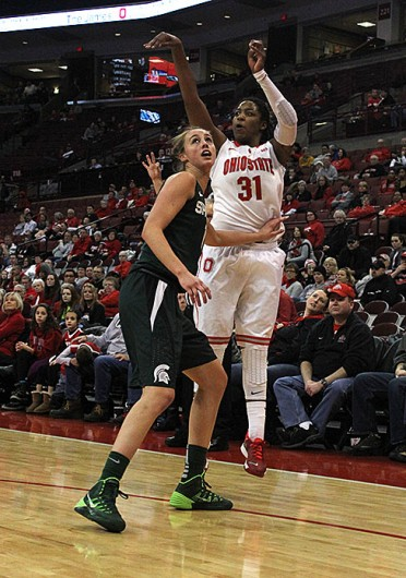 Junior guard Raven Ferguson (31) takes a shot during a game against Michigan State Jan. 26 at the Schottenstein Center. OSU lost, 82-68. Credit: Kaily Cunningham / Multimedia editor