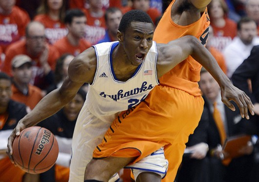 Kansas freshman guard Andrew Wiggins (22) drives to the basket during a game against Oklahoma State Jan. 18 at Allen Fieldhouse. Kansas won, 80-78. Courtesy of MCT