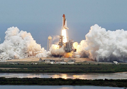 Space Shuttle Atlantis with a crew of seven astronauts blasts off May 11, 2009, on a mission to refurbish and restore the Hubble Telescope.