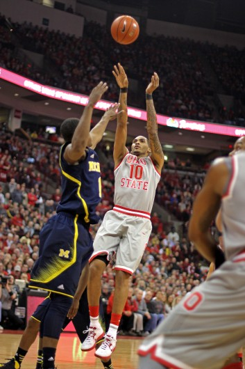 Junior forward LaQuinton Ross (10) takes a shot during a game against Michigan Feb. 11 at the Schottenstein Center. OSU lost, 70-60. Credit: Shelby Lum / Photo editor