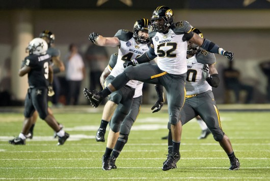 Then-redshirt-senior Missouri defensive lineman Michael Sam (52) celebrates a sack during a game against Vanderbilt Oct. 5 at Vanderbilt Stadium. On Sunday Sam came out as gay and hopes to become the first active openly gay NFL player. Courtesy of MCT