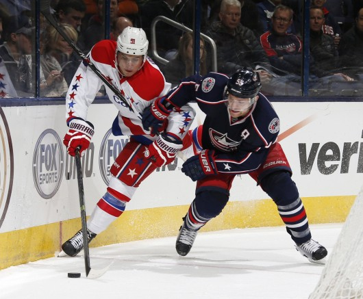 Columbus Blue Jackets forward Mark Letestu (55) fights for the puck during a game against the Washington Capitals Jan. 29 at Nationwide Arena. The Blue Jackets won, 5-2. Courtesy of MCT