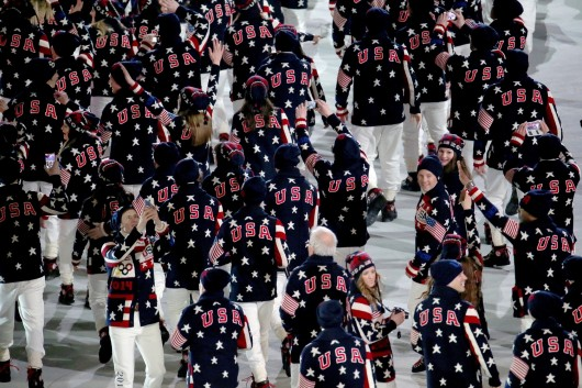 The United States team enters Fisht Olympic Stadium in Sochi, Russia, during the Opening Ceremony for the Winter Olympics Feb. 7. Credit: Courtesy of MCT