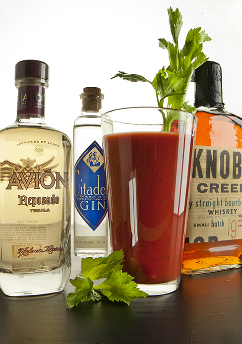 The ingredients to make a Bloody Mary, an alcoholic drink that uses tomato juice and vodka.