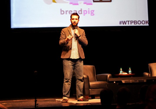 Reddit co-founder Alexis Ohanian speaks to a crowd at Mershon Auditorium Feb. 10 in an event sponsored by OSU's Business Builders Club and Fundable LLC.  Credit: Shelby Lum / Photo editor