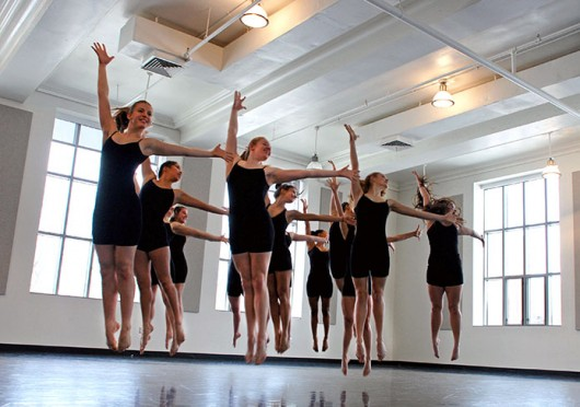 Dancers rehearse a piece choreographed by Elyse Morckel, a fourth-year in dance, which is to be spotlighted at OSU's Department of Dance's winter concert Feb. 28.  Credit: Courtesy of OSU's Department of Dance