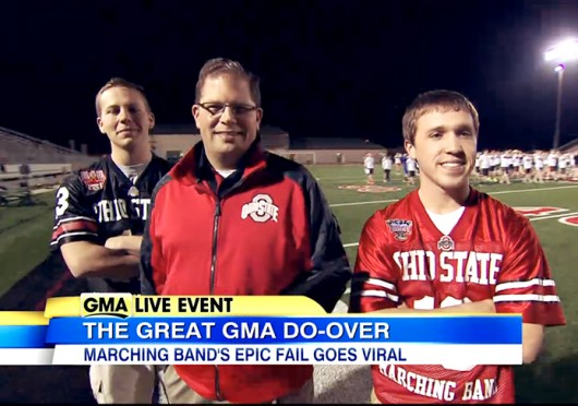 Zachary Naughton (left), Jon Waters and Ryan Barta of the OSU Marching Band coach the Lake Travis High School marching band in Austin, Texas.Credit: Screenshot of segment on ABC's 'Good Morning America' Credit: Screenshot of segment on ABC's 'Good Morning America'