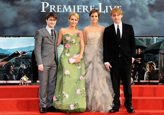 Daniel Radcliffe (left), JK Rowling, Emma Watson and Rupert Grint at the world premier of 'Harry Potter and the Deathly Hallows: Part 2' in Lonon July 7, 2011. Credit: Courtesy of MCT