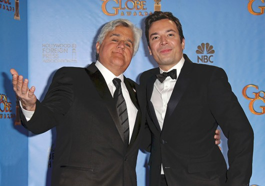 Jay Leno and Jimmy Fallon in the press room at the 70th Annual Golden Globe Awards held at The Beverly Hilton Hotel Jan. 13. Leno confirmed that he's leaving 'The Tonight Show' in spring 2014 with Fallon as his replacement, NBC said in a statement.  Credit: Courtesy of MCT