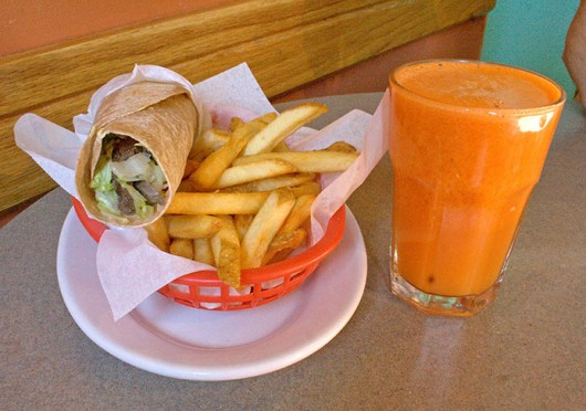 Lamb shawarma, fries and orange carrot juice at Clintonville's Lavash Cafe. Credit: Mark Spigos / Lantern reporter