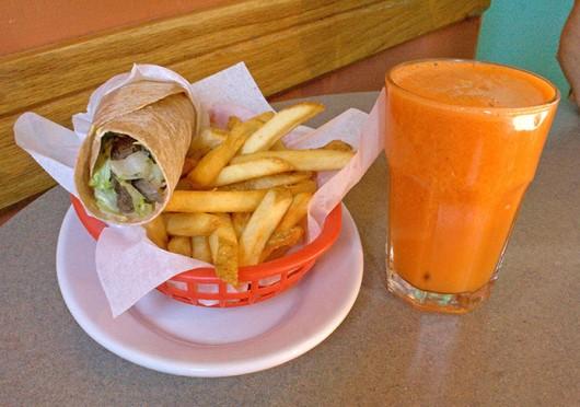 Lamb shawarma, fries and orange carrot juice at Clintonville's Lavash Cafe. Credit: Mark Spigos / Lantern reporter