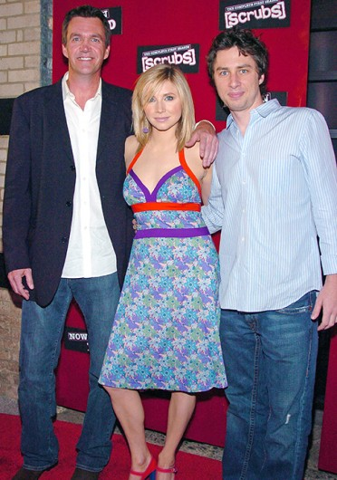 Neil Flynn (left), Sarah Chalke and Zach Braff at the 'Scrubs' complete first season DVD launch party in New York in 2005. Credit: Courtesy of MCT