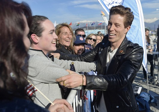 US Snowboarder Shaun White greets fans before an appearance on the 'Today Show' in Sochi, Russia Feb. 12.  Credit: Courtesy of MCT