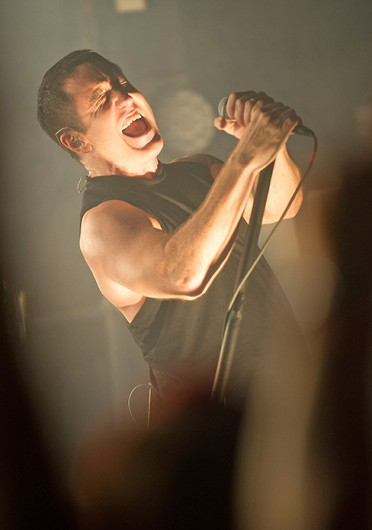 Trent Reznor fronts rock band Nine Inch Nails during a warm-up gig at Scala, King's Cross, prior to Reading and Leeds festivals in August.  Credit: Courtesy of MCT