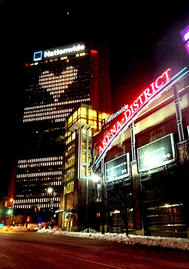 Nationwide One tower in Columbus displays a heart on the side of its building. Credit: Jacob Hollar / Lantern reporter