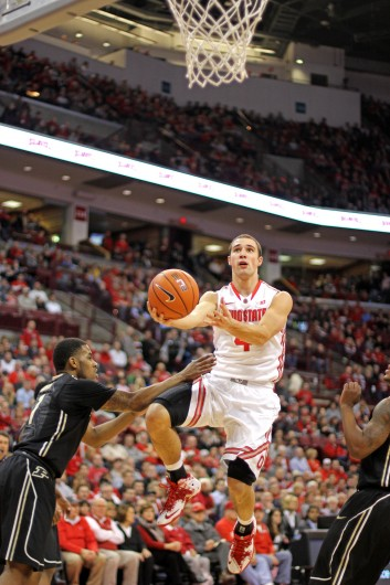 Senior guard Aaron Craft attempts a layup during a game against  Purdue Feb. 8 at the Schottenstein Center. OSU won, 67-49. Credit: Shelby Lum / Photo editor