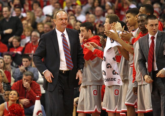OSU coach Thad Matta paces the sidelines during a game against Michigan Feb.  11 at the Schottenstein Center. OSU lost, 70-60. Credit: Shelby Lum / Photo editor