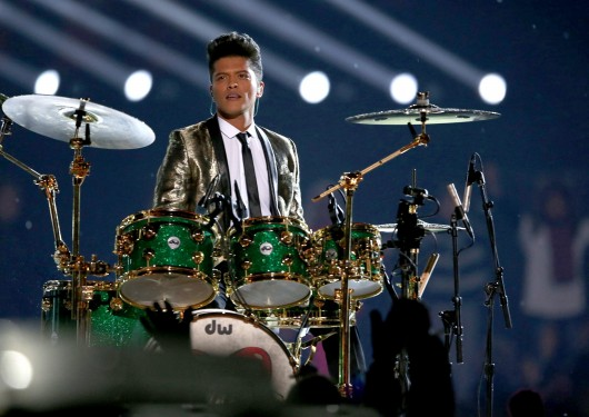 Bruno Mars performs at the halftime show during Super Bowl XLVIII at MetLife Stadium in East Rutherford, N.J., on Feb. 2.