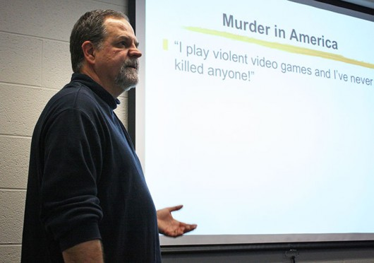 OSU communication and psychology professor Brad Bushman speaks about the effects of video game violence at the Journalism Building Feb. 6. Credit: Logan Hickman / Lantern photographer