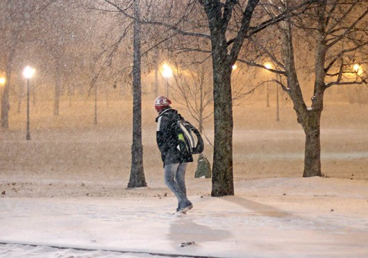A person crosses the Oval in the snow Feb. 4. Credit: Shelby Lum / Photo editor