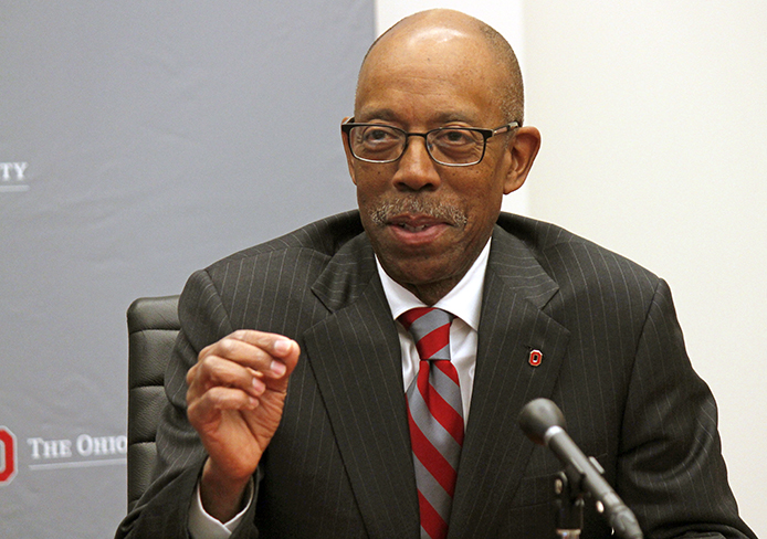 University of California Irvine Chancellor Dr. Michael Drake at a press conference Jan. 30. OSU officials announced that day Drake is appointed to be the next OSU president. Credit: Ritika Shah / Asst. photo editor