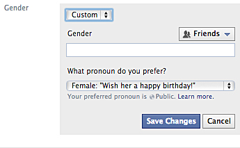 Facebook offers its users 50 options for gender now,  as well as the chance to specify which pronoun a user wishes to go by. Credit: Screenshot of Facebook