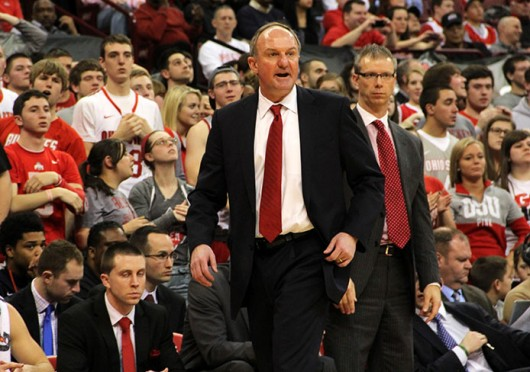 Thad Matta stands on the sidelines during a game against Minnesota. OSU won, 64-46. Credit: Ritika Shah / Asst. photo editor