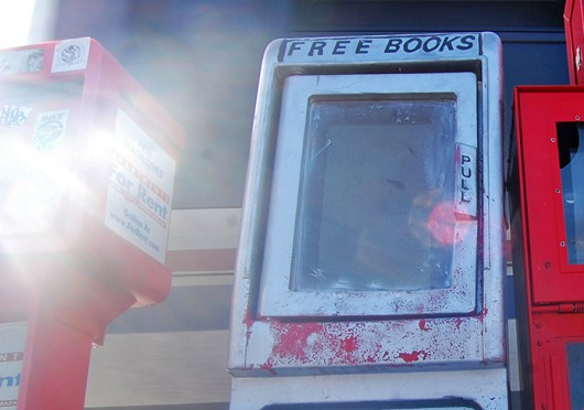 A Little Free Library, where community members can place or take books, on the corner of 15th Avenue and North High Street. Credit: Breanna Soroka / Lantern photographer