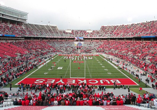 Ohio Stadium during an OSU football game against Indiana Nov. 23. Ohio Stadium is set to receive waterproofing and concrete repairs this summer. Credit: Shelby Lum / Photo editor