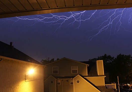 Lightning during a May storm in Columbus. Credit: Shelby Lum / Photo editor