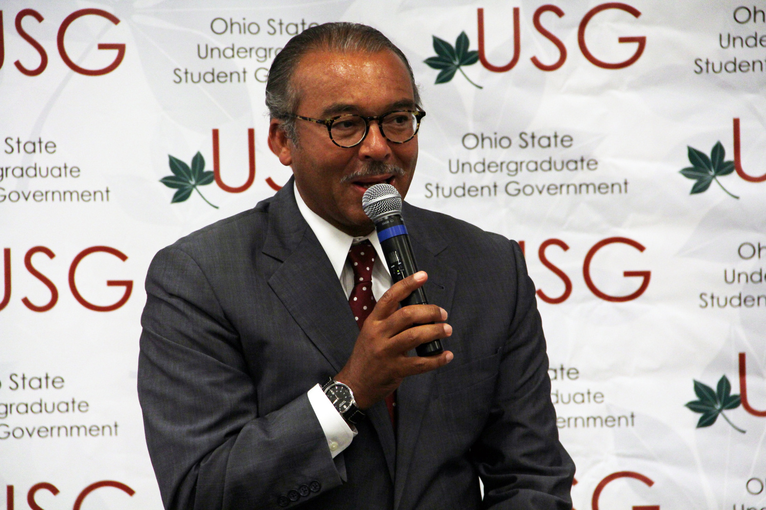 Columbus Mayor Michael Coleman speaks at a USG General Assembly meeting Oct. 1 at Ohio Union about the Columbus Education Plan. Credit: Ritika Shah / Asst. photo editor