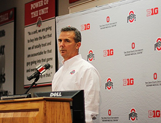 Urban Meyer talks to the media on National Signing Day Feb. 5 at the Woody Hayes Athletic Center. Credit: Shelby Lum / Photo editor