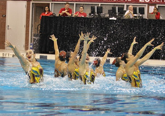 The Ohio State synchronized swimming team performs their routine during the Jessica  Beck Memorial Meet Feb. 1 at McCorkle Aquatic Pavilion. OSU won with 93 points. Credit: Shelby Lum / Photo editor