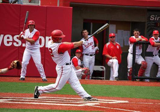Then-junior infielder Ryan Cypret hits the ball during a game against Nebraska April 15, 2012, at Bill Davis Stadium. OSU lost, 5-4. Credit: Shelby Lum / Photo editor