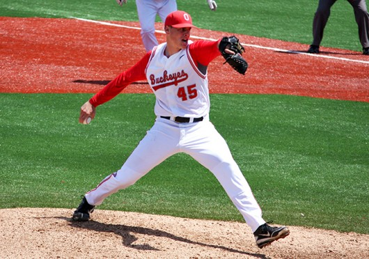 Then-sophomore pitcher John Kuchno (45) throws the ball during a game against Northwestern May 6, 2012, at Bill Davis Stadium. OSU won, 4-1. Credit: Shelby Lum / Photo editor