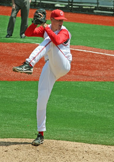 Then-sophomore pitcher John Kuchno throws the ball during a game against Northwestern May 6, 2012, at Bill Davis Stadium. OSU won, 4-1. Credit: Shelby Lum / Photo editor