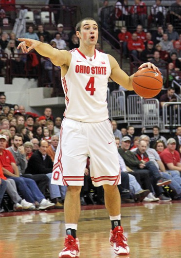 Senior guard Aaron Craft directs the offense during a game against Minnesota Feb. 22 at the Schottenstein Center. OSU won, 64-46. Credit: Ritika Shah / Asst. photo editor