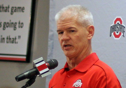 OSU cornerbacks coach and special teams coordinator Kerry Coombs talks to the media on National Signing Day Feb. 5 at the Woody Hayes Athletic Center. Credit: Shelby Lum / Photo editor