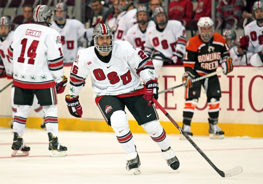 Junior forward Matt Johnson (26) switches onto the ice during a game against Bowling Green Oct. 29 at the Schottenstein Center. OSU won, 5-3. Credit: Shelby Lum / Photo editor
