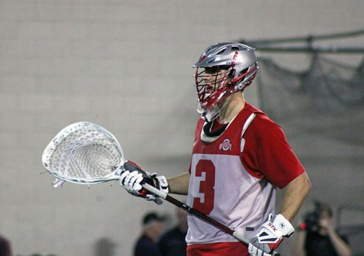 Senior goalkeeper Greg Dutton watches from the goal during a game against Robert Morris Feb. 1 at the Woody Hayes Athletic Center. OSU won, 11-7. Credit: Ryan Robey / For The Lantern
