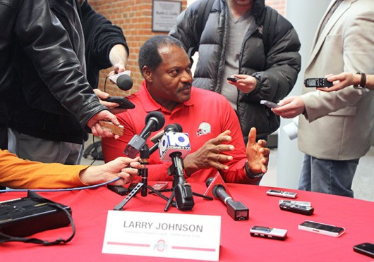 OSU defensive line coach Larry Johnson Sr. answers questions from the media on National Signing Day Feb. 5 at the Woody Hayes Athletic Center.  Credit: Shelby Lum / Photo editor