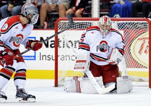 Former OSU goalkeeper Collin Olson (39) makes a save during a game against Miami (Ohio) Oct. 11 at the Schottenstein Center. OSU lost, 6-2. Olson would later leave the program to play for the USHL. Courtesy of OSU athletics