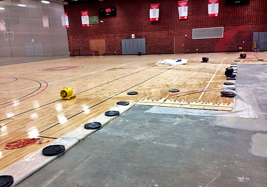 The RPAC lower basketball courts under construction during winter break. Credit: Kristen Mitchell / Editor-it-chief