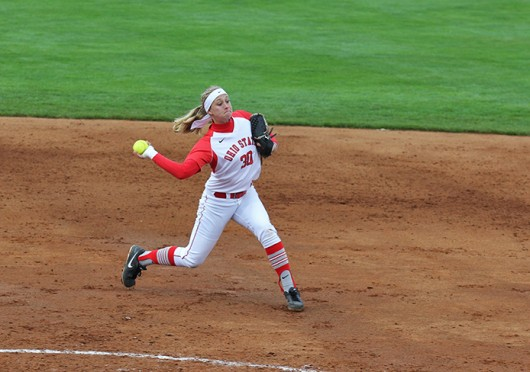 Then-sophomore shortstop/second baseman Maddy McIntyre throws the ball during a game against Michigan State April 24 at Buckeye Field. OSU won, 6-3. Credit: Shelby Lum / Photo editor